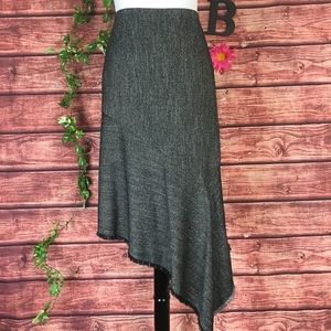 Anne Klein Skirt 8 Black White Tweed A Line Fringe